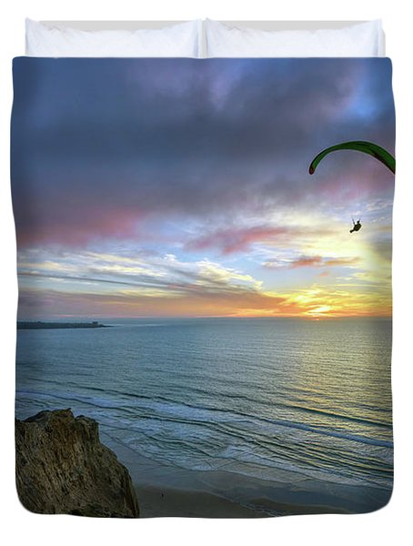 A Hang Glider And A Sunset Duvet Cover