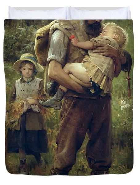 A Heavy Burden Duvet Cover by Arthur Hacker