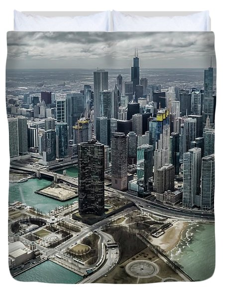 A Helicopter View Of Chicago's Lakefront Duvet Cover