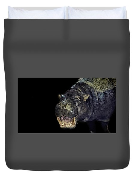 A Hippos Smile Duvet Cover by Martin Newman