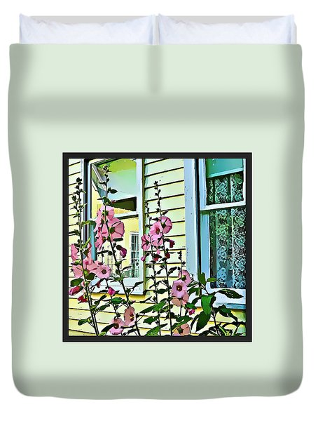Duvet Cover featuring the digital art A Holly Hocks Morning by Mindy Newman