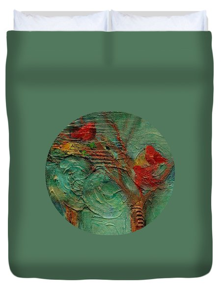 Duvet Cover featuring the painting A Home In The Woods by Mary Wolf