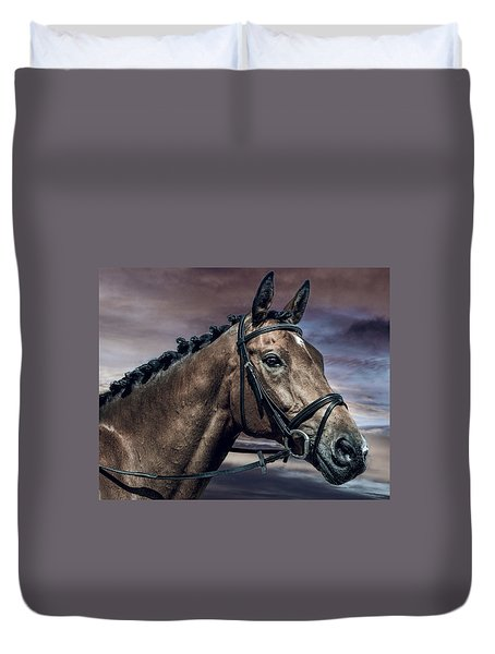 Duvet Cover featuring the photograph A Horse Called Zi by Brian Tarr