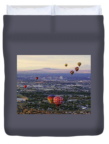 A Hot Air Ride To Albuquerque Cropped Duvet Cover by Daniel Woodrum