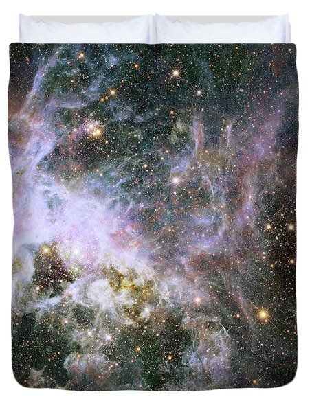 Duvet Cover featuring the photograph A Hubble Infrared View Of The Tarantula Nebula by Nasa