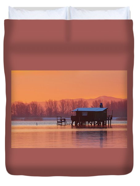 Duvet Cover featuring the photograph A Hut On The Water by Davor Zerjav