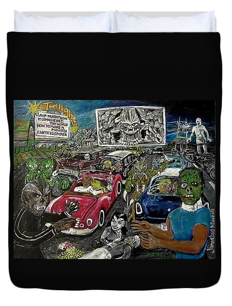 A I P Monster Movie Marathon At The Twilight Drive - In  La Porte Indiana Duvet Cover