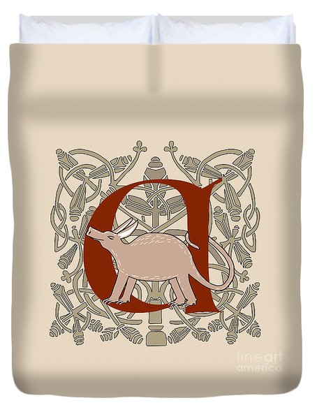Duvet Cover featuring the digital art A Is For Aardvark by Donna Huntriss