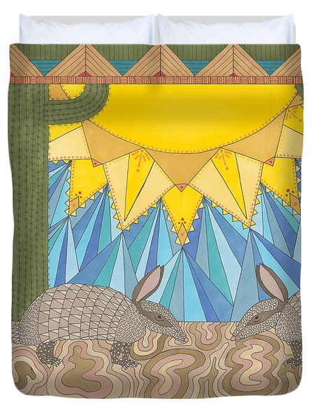 A Is For Armadillo Duvet Cover