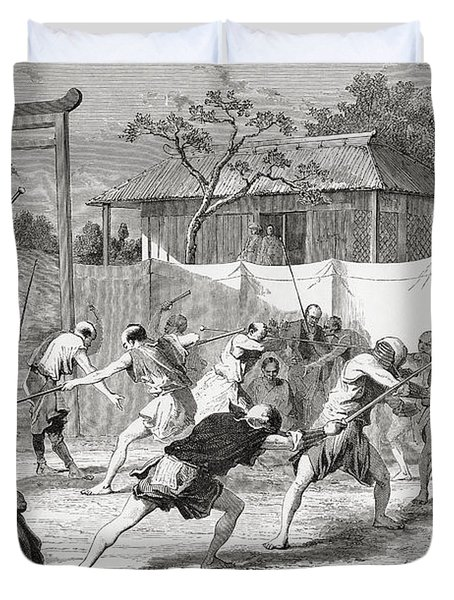 A Japanese Fencing School In The 19th Duvet Cover