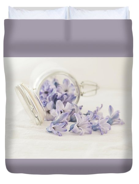 Duvet Cover featuring the photograph A Jar Of Purple Sweetness by Kim Hojnacki