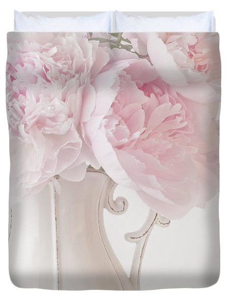 A Jug Of Soft Pink Peonies Duvet Cover by Sandra Foster