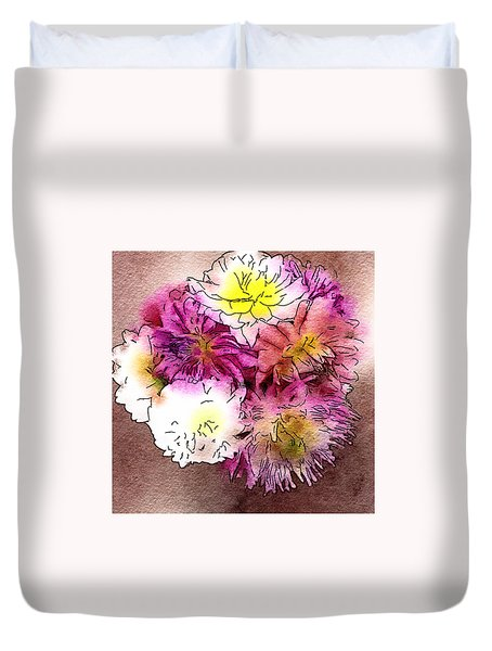 Duvet Cover featuring the photograph A Jug Of Summer Dahlias 2 by Ronda Broatch