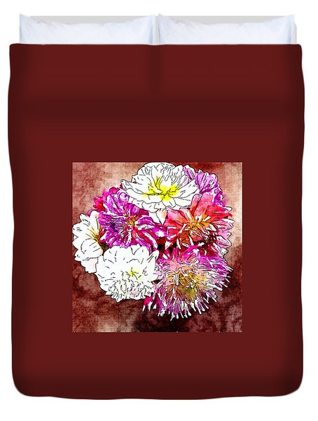 A Jug Of Summer Dahlias 3 Duvet Cover