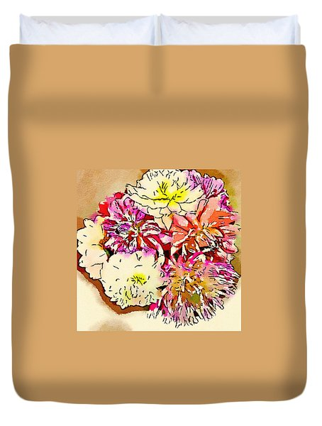 A Jug Of Summer Dahlias Duvet Cover