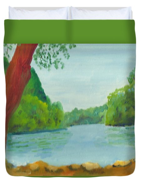 A June Day At Hidden Falls Duvet Cover