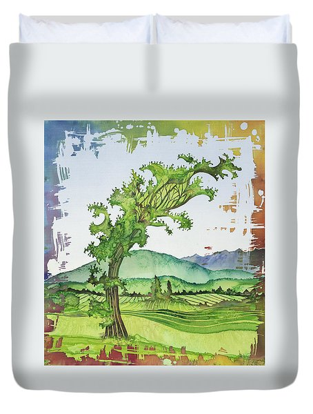 A Kale Leaf Visits The Country Duvet Cover