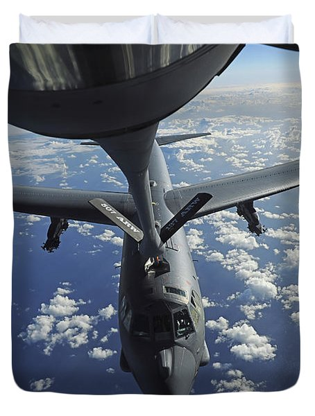 A Kc-135 Stratotanker Aircraft Refuels Duvet Cover by Stocktrek Images
