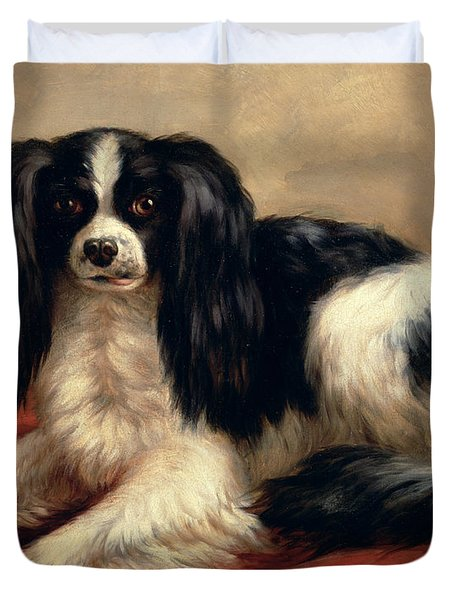 A King Charles Spaniel Seated On A Red Cushion Duvet Cover by Eugene Joseph Verboeckhoven