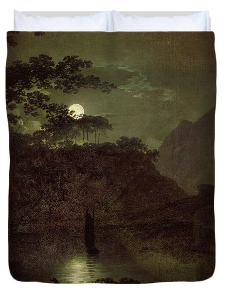 A Lake By Moonlight Duvet Cover