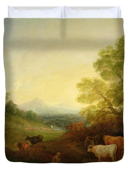 A Landscape With Cattle And Figures By A Stream And A Distant Bridge Duvet Cover