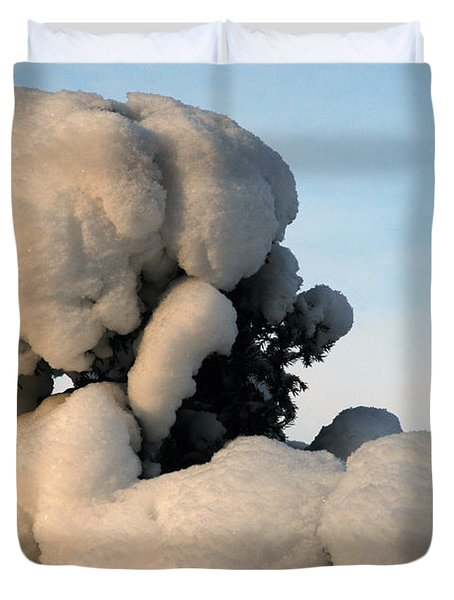 A Lick Of Snow On The Bush Duvet Cover
