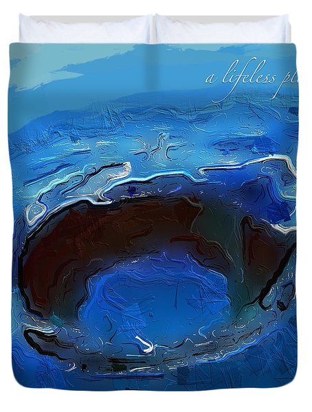 A Lifeless Planet Blue Duvet Cover