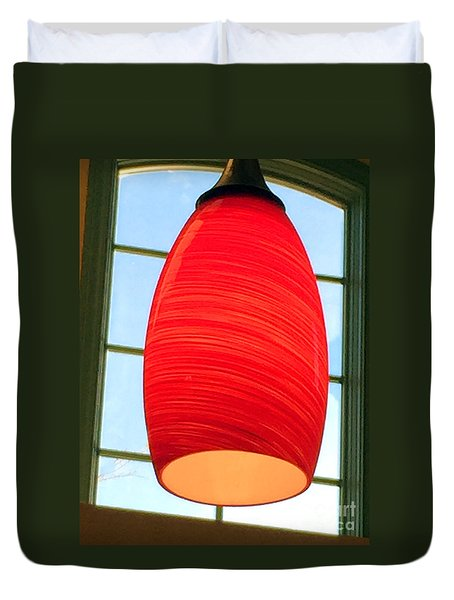 A Light On In Trhe Window Duvet Cover