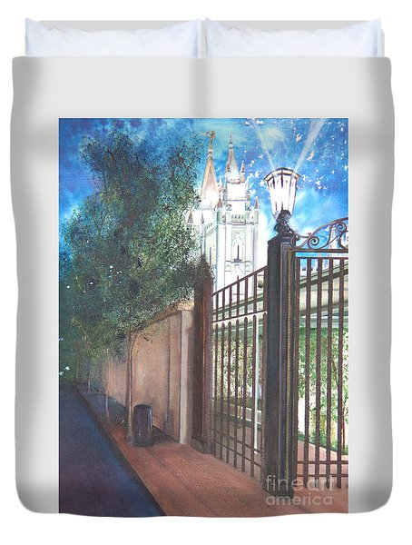 A Light Unto The World Duvet Cover by Jane Autry