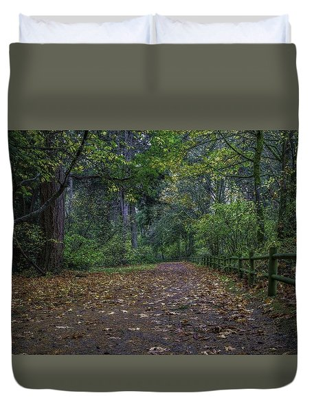A Lincoln Park Autumn Duvet Cover by Ken Stanback