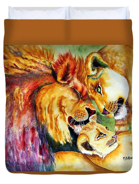 Duvet Cover featuring the painting A Lion's Pride by Maria Barry