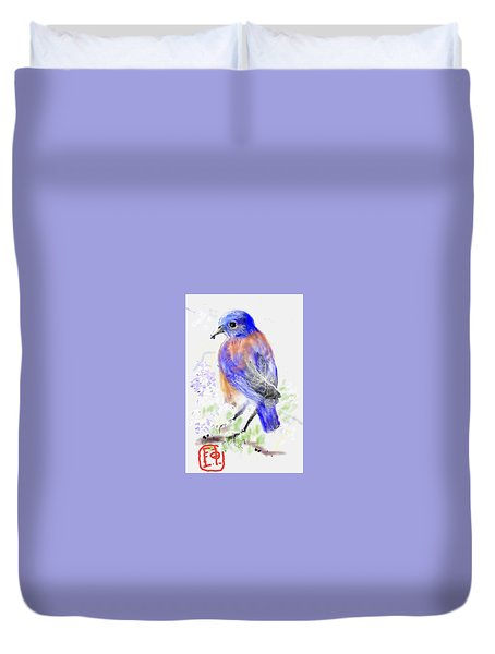 A Little Bird In Blue Duvet Cover
