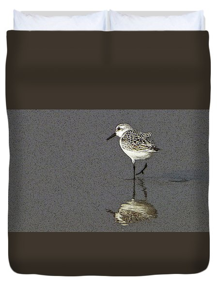 A Little Bird On A Beach Duvet Cover