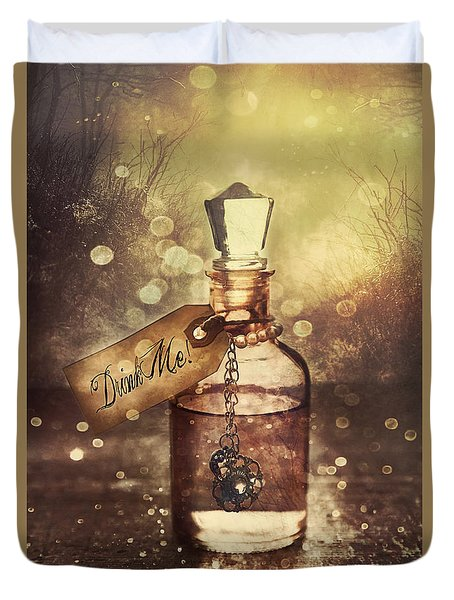 A Little Bottle With A Potion That Says Drink Me Duvet Cover by Sandra Cunningham