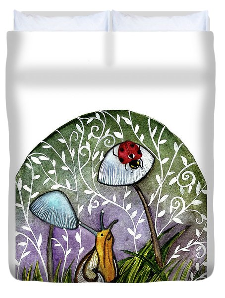 A Little Chat-ladybug And Snail Duvet Cover by Garima Srivastava