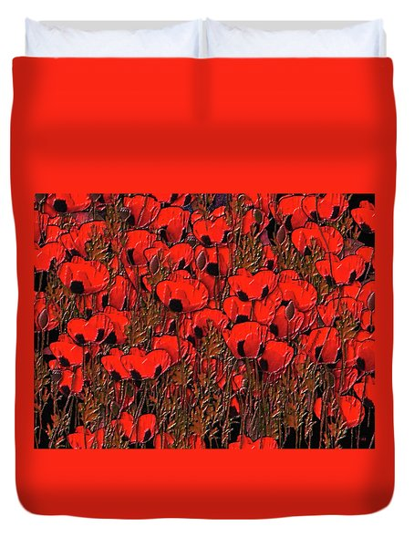 A Little Family Gathering Of Poppies Duvet Cover