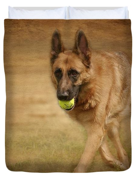Duvet Cover featuring the photograph A Little Playtime - German Shepherd Dog by Angie Tirado