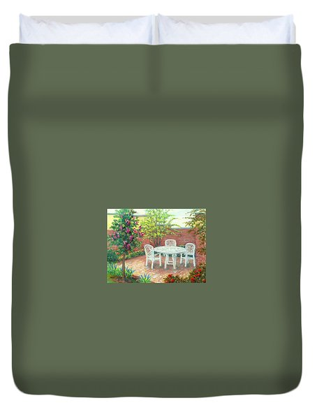 A Little Spring Patio  Duvet Cover by Nancy Heindl