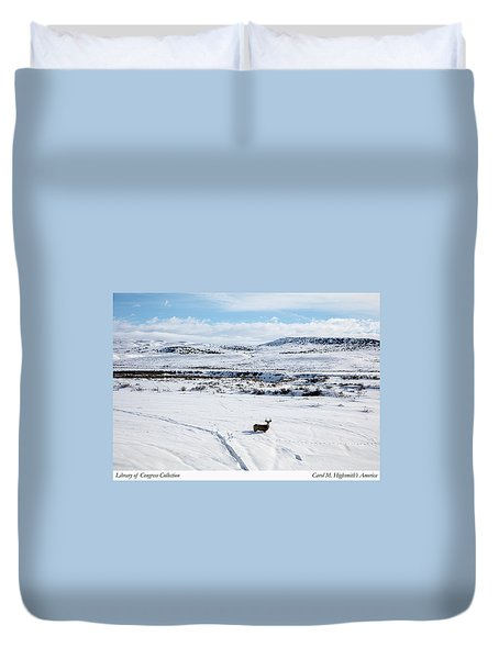 A Lone Buck Deer In Carbon County, Wyoming Duvet Cover by Carol M Highsmith