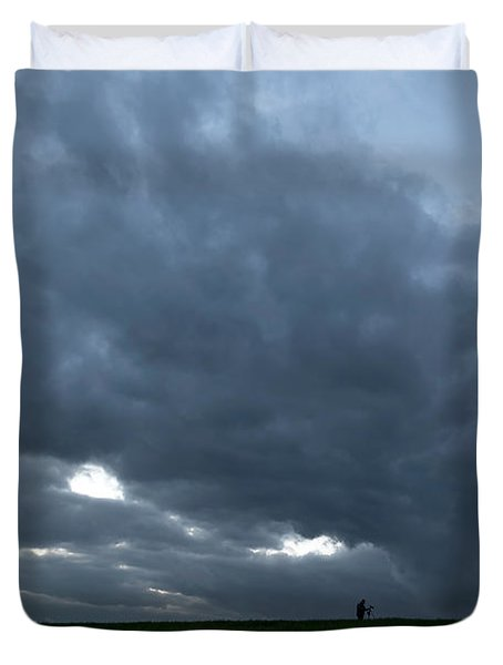 Alone In The Face Of The Storm Duvet Cover