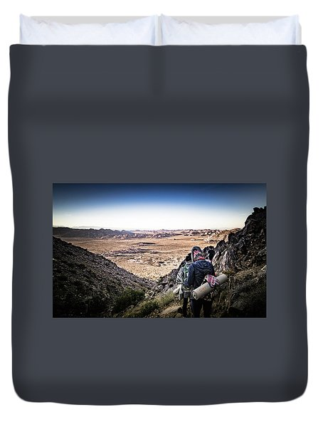 Duvet Cover featuring the photograph A Long Walk Through Joshua Tree by T Brian Jones