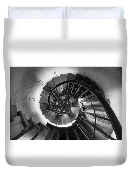 Duvet Cover featuring the photograph A Long Way Down by Quality HDR Photography