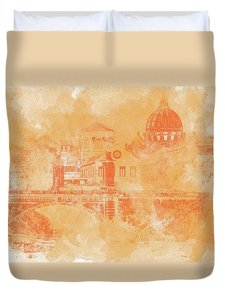 A Look At History - Rome Duvet Cover by Andrea Mazzocchetti