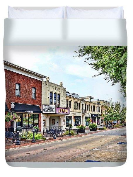 Duvet Cover featuring the photograph A Look Down College Avenue - Blacksburg Virginia by Kerri Farley