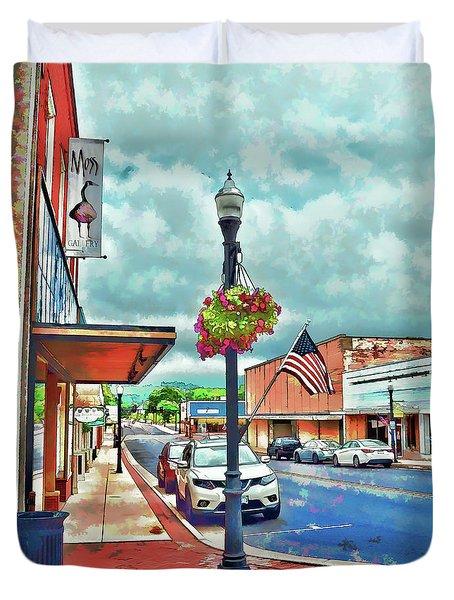 Duvet Cover featuring the photograph A Look Down Main Street - Waynesboro Virginia - Art Of The Small Town by Kerri Farley