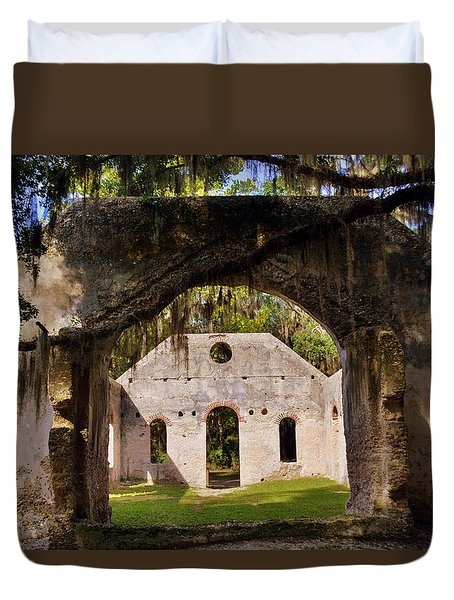Duvet Cover featuring the photograph A Look Into The Chapel Of Ease St. Helena Island Beaufort Sc by Lisa Wooten