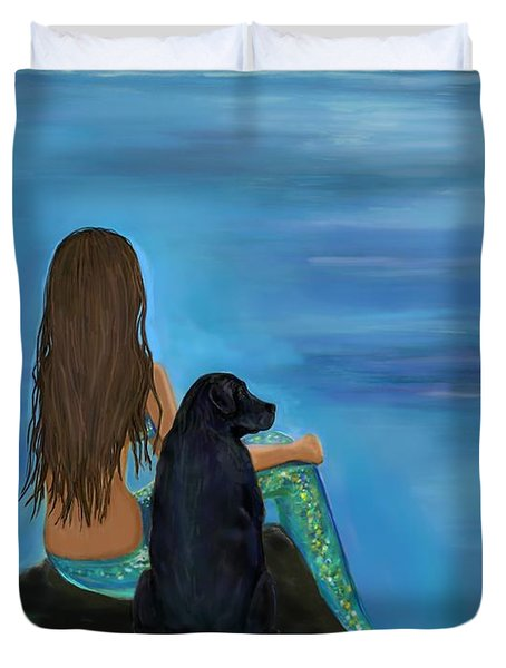 Duvet Cover featuring the painting A Loyal Buddy by Leslie Allen
