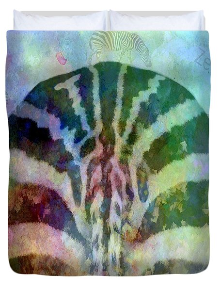 Duvet Cover featuring the photograph A Magical Day For Zebra by Renee Trenholm
