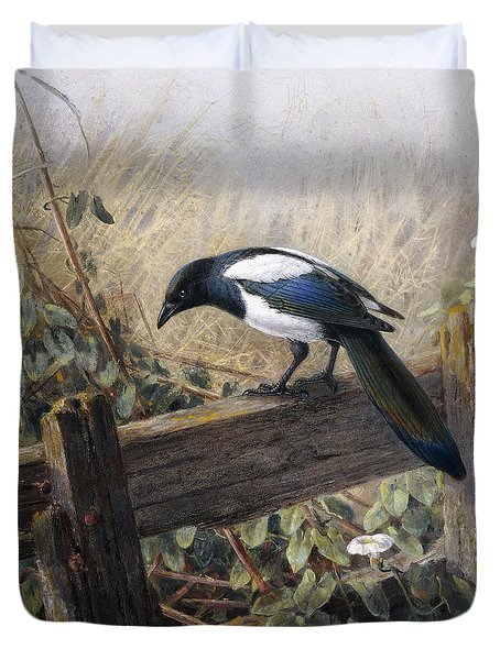 A Magpie Observing Field Mice Duvet Cover