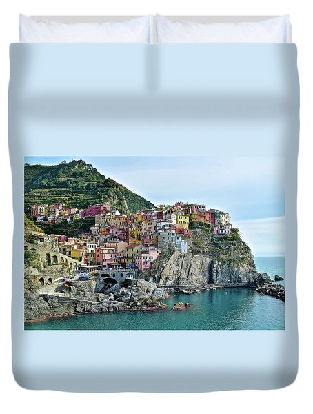 Duvet Cover featuring the photograph A Manarola Morning by Frozen in Time Fine Art Photography